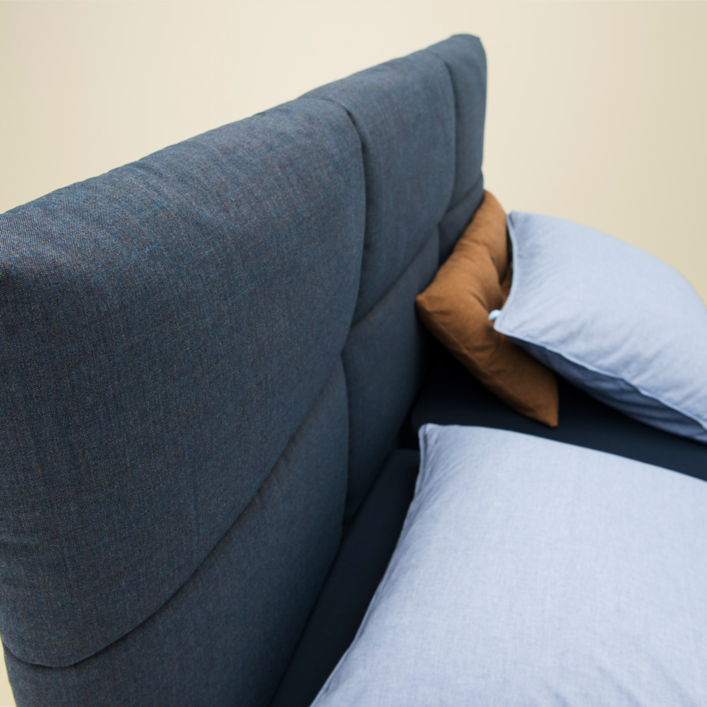 Tweepersoons topdekmatras Comfort op blauwe Original boxspring